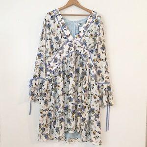 GLAMOROUS | Curve Cream Blue Floral Dress